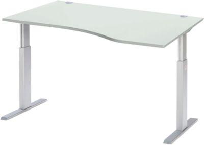 Bureaublad met verlengstuk rechts ERGO-T, T-poot, handmatig in hoogte verstelbaar met inbussleutel, B 1800 mm, lichtgrijs
