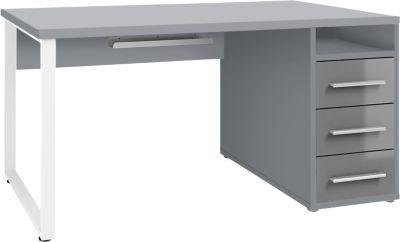 Bureauplayer, met laden, kabeluitgang & kabelgoot, breedte 1500 mm, verguld grijs/grijs glas