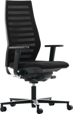 Bureaustoel R12, met armleuningen, onderstel zwart, zwart