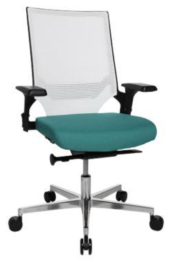 Bureaustoel T300, met in hoogte verstelbare armleuningen, elegante netrugleuning, wit/turkoois
