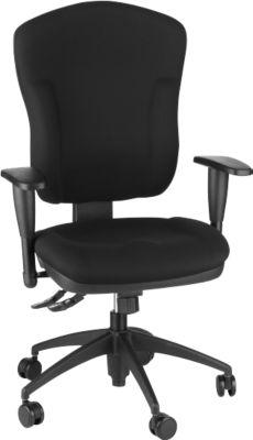 Bureaustoel WELLNESS 300, synchroonmechanisme, met armleuningen, extra hoge rugleuning van 570 mm, zwart