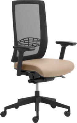 Bureaustoel WIKI, met armleuningen, met net bekleed, kunststof onderstel, beige