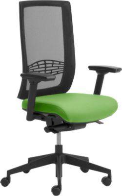 Bureaustoel WIKI, met armleuningen, met net bekleed, kunststof onderstel, groen