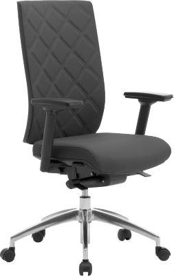 Bureaustoel WIKI, met armleuningen, met stof bekleed, gepolijst alu onderstel, zwart