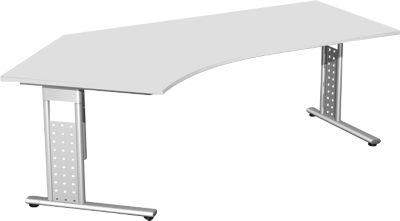 Bureautafel 135° links, met C-onderstel, l.grs