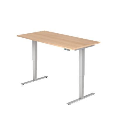 Bureautafel, elektrisch in hoogte verstelbaar, b 1600 mm, eikendecor