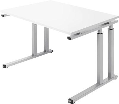 Bureautafel SET UP, C-poten, 1200x800mm, wit/witalu