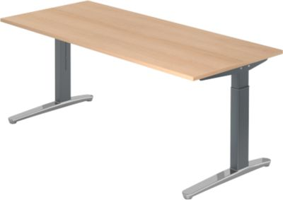 Bureautafel TOPAS LINE, manueel in hoogte verstelbaar, b 1800 mm, eiken/grafiet/gepolijst aluminium