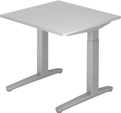 Bureautafel TOPAS LINE, manueel in hoogte verstelbaar, b 800 mm, lichtgrijs/zilver/zilver