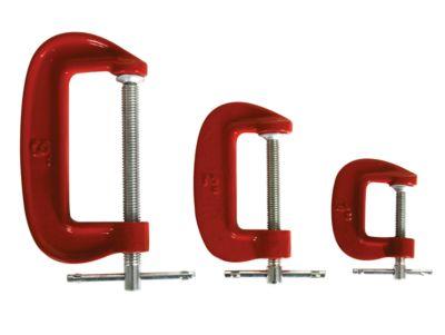 C-Schraubzwingen Set, 3 Stück, mit T-Handgriffen, jeweils 1 x Backenöffnung mit 24 mm, 45 mm & 7,2 mm, rot