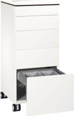Caddy ASISTO C 3000, 4 Schubladen, mit Abfallsammler, rollbar, weiß