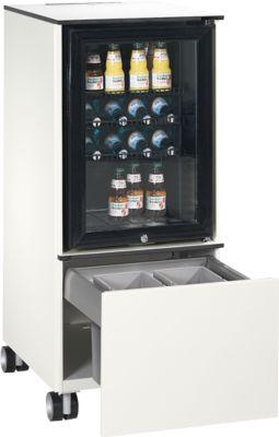Caddy ASISTO C 3000, met koelkast, met afvalbak, verrijdbaar, wit