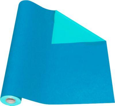 Cadeaupapier blauw/turquoise, rol L 50 m x B 500 mm, aan beide zijden te gebruiken.