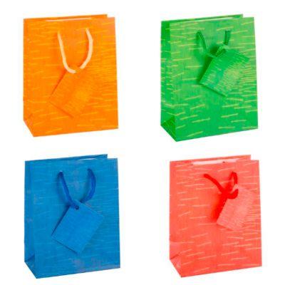 Cadeautas Laura, klein, 11 x 6,5 x 14 cm, scheurvast, set van 12, 4 kleuren gesorteerd, met een set van 12, 4 kleuren