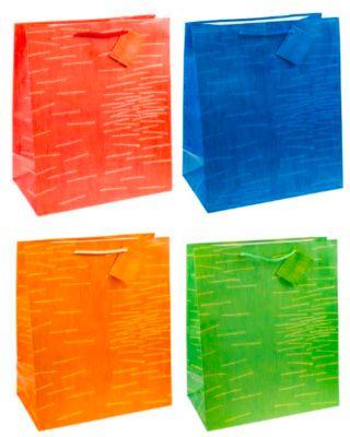 Cadeautas Laura, XXL groot, 26 x 13,5 x 32 cm, scheurvast, set van 12, set van 12, kleur gesorteerd