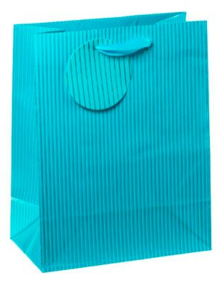 Cadeautas medium, krijtstreep blauw, incl. lint & etiket, 4 stuks
