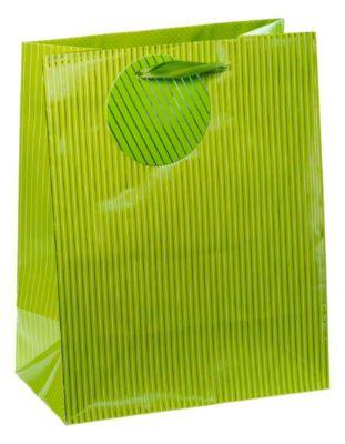 Cadeautas met krijtstreepjes, middelgroot, 18 x 10 x 23 cm, scheurvast, set van 4 groen