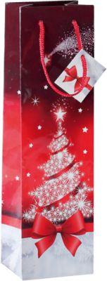 Cadeautasje Sigel Sparkling Tree, met koordjes & kadokaartjes, papier, rood met kerstboom