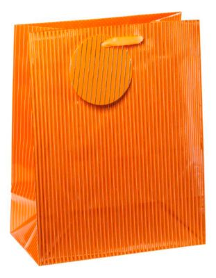 Cadeauzakje krijtstreep, middelgroot, 18 x 10 x 23 cm, scheurvast, set van 4 oranje, met een set van 4 stuks