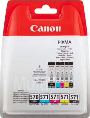 Canon Sparpaket, 2 Tintenpatronen PGI-570 PGBK/CLI-571, schwarz, schwarz-pigmentiert, CMY