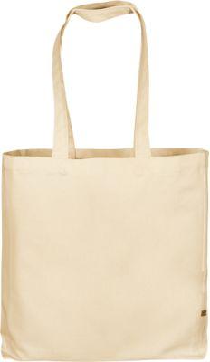 Canvas Tasche CLASSIC, naturfarben, 100 % Bauwolle, 2 lange Henkel, mit Boden- und Seitenfalte, Werbedruck 250 x 200 mm