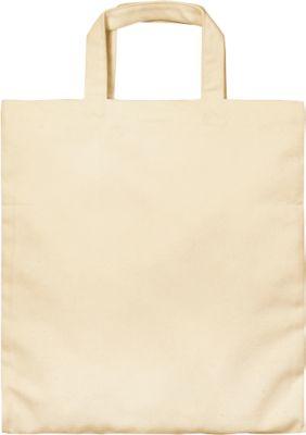 Canvas Tasche, naturfarben, 100 % Baumwolle, 2 kurze Henkel, Werbedruck 220 x 200 mm