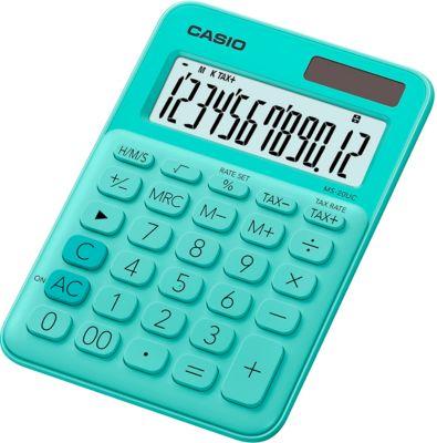 CASIO® MS-20UC rekenmachine, 12-cijferig LCD-scherm, op zonne-energie/batterij, groen