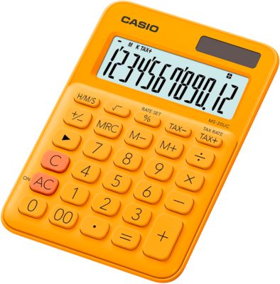CASIO® MS-20UC rekenmachine, 12-cijferig LCD-scherm, op zonne-energie/batterij, oranje