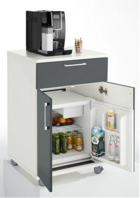 Catering-Caddy, mit Kühlschrankfach und Klappfach, B 650 x T 600 x H 1000 mm, mit Kühlbox, weiß/grau