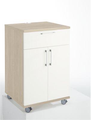 Catering-Caddy, mit Kühlschrankfach und Klappfach, B 650 x T 600 x H 1000 mm, ohne Kühlbox, Eiche-Dekor/weiß