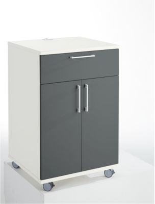 Catering-Caddy, mit Kühlschrankfach und Klappfach, B 650 x T 600 x H 1000 mm, ohne Kühlbox, weiß/grau