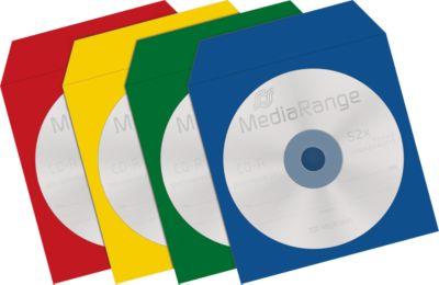 CD-/DVD-Papierhüllen, wiederverschließbar, Sichtfenster, farbig sortiert, 100 Stück