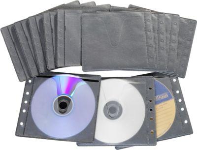 CD/DVD-Vliestaschen, abheftbar, Universal-Lochung, schwarz