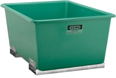 CEMO rechthoekige bakken met insteekkokers voor heftrucks, groen, 1500 l