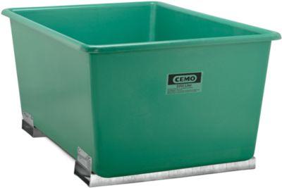 CEMO rechthoekige bakken met insteekkokers voor heftrucks, groen, 2200 l