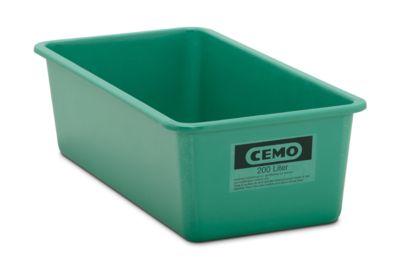 CEMO rechthoekige standaard bak, groen, 200 l plat