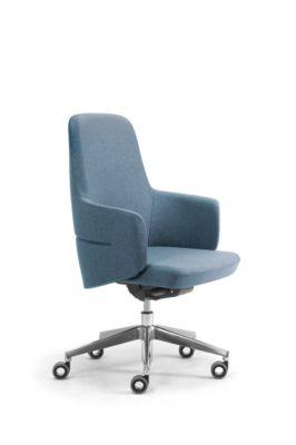 Chefsessel Halbhochlehner OPERA, mit Armlehnen, Synchronmechanik, Komfort-Flachsitz, Stoff, melangeblau