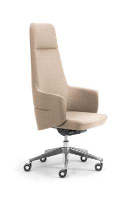 Chefsessel Hochlehner OPERA, mit Armlehnen, Synchronmechanik, Komfort-Flachsitz, Bezug Stoff FENICE, hellbeige