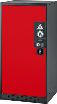 Chem.kast, vl.deur, 2 bakladen, 545x520x1105 mm, rood