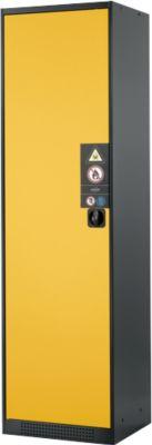 Chem.kast, vl.deur, 3 legb., 545x520x1950 mm, geel