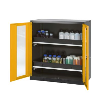 Chem.kast, vleugeldeur met glazen ruitjes, 2 legb., 1055x520x1105 mm, geel