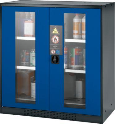 Chem.kast, vleugeldeur met glazen ruitjes, 2 legb., 1055x520x1105 mm, gent.blauw