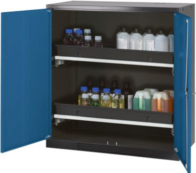 Chemicaliënkast, vl.deur, 2 bakladen, 1055x520x1105 mm, gent.blauw