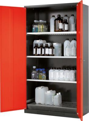 Chemicaliënkast, vl.deur, 3 legb., 1055x520x1950 mm, verkeersrood