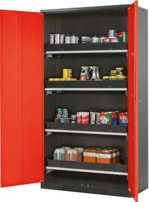 Chemicaliënkast, vl.deur, 4 baklegb.., 1055x520x1950 mm, verkeersrood