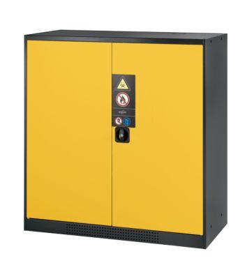 Chemikalienschrank, Flügeltür, 2 Böden, 1055x520x1105 mm, sicherheitsgelb