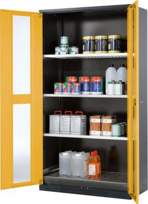 Chemikalienschrank, Flügeltür m. Glasauschnitt, 3 Böden, 1055x520x1950 mm, sicherheitsgelb