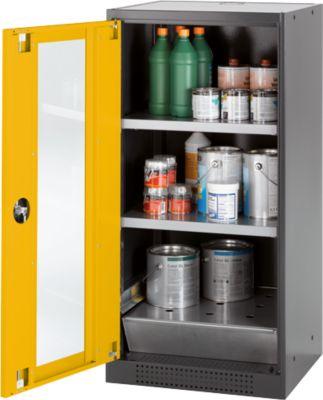Chemikalienschrank, Flügeltür und Glasausschnitt, 2 Böden, H 1105 mm, sicherheitsgelb