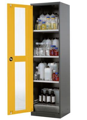 Chemikalienschrank, Flügeltür und Glasausschnitt, 3 Böden, H 1950 mm, sicherheitsgelb