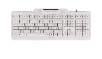 Cherry Keyboard Security KC 1000 SC, Security Tastatur, integriertes Smartcard-Terminal, weiß-grau